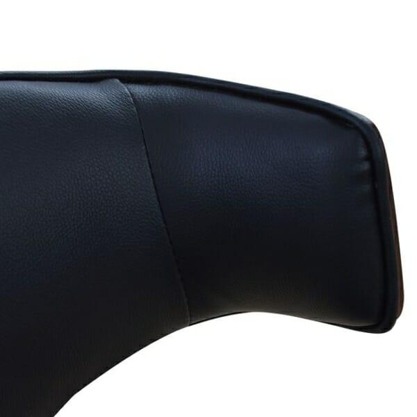 Елегантен трапезен стол от дърво и еко кожа в черно-детайли кожа