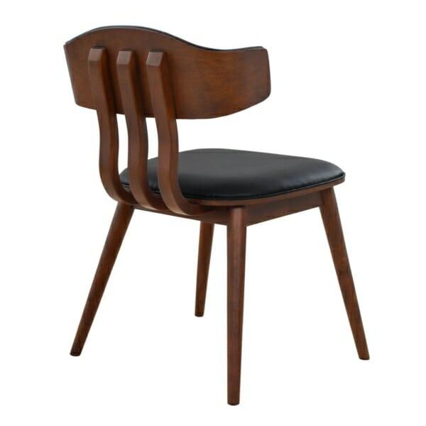 Елегантен трапезен стол от дърво и еко кожа в черно отзад
