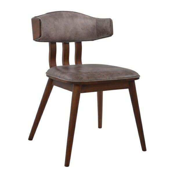 Елегантен трапезен стол от дърво и еко кожа в сиво