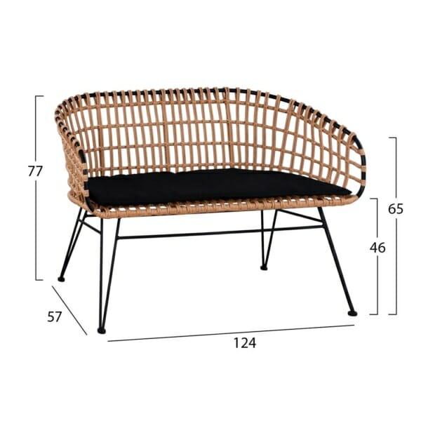 Градинска двуместна пейка от ратан-размери