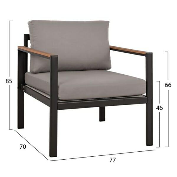 Градински алуминиев компклект антрацит кресло размери