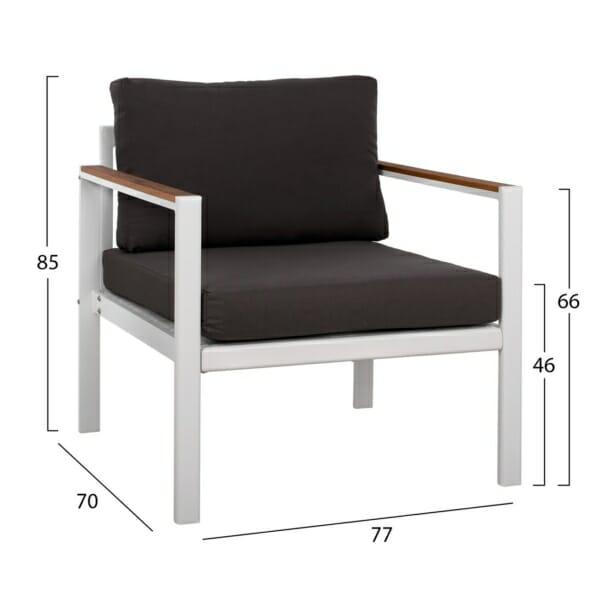 Градински алуминиев комплект в бяло кресло размери