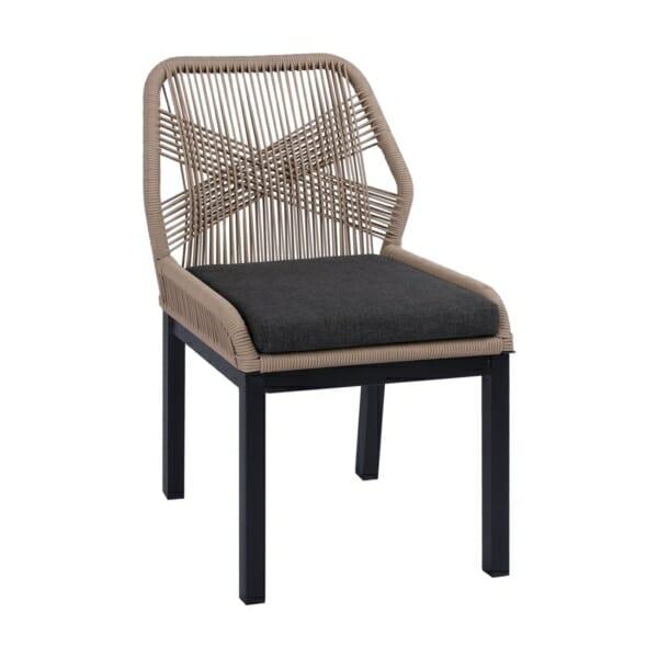 Градински стол с алуминиева основа и плетени въжета серия Масара-в бежово