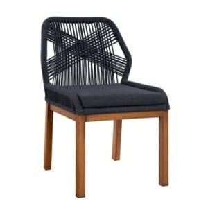 Градински стол с алуминиева основа и плетени въжета серия Масара-в сиво