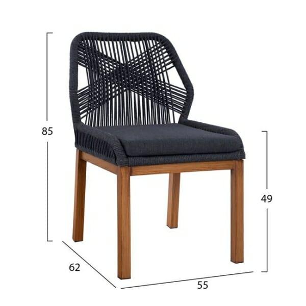 Градински стол с алуминиева основа и плетени въжета серия Масара в сиво-размери