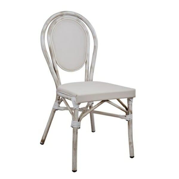 Градински стол серия Бамбук в бяло