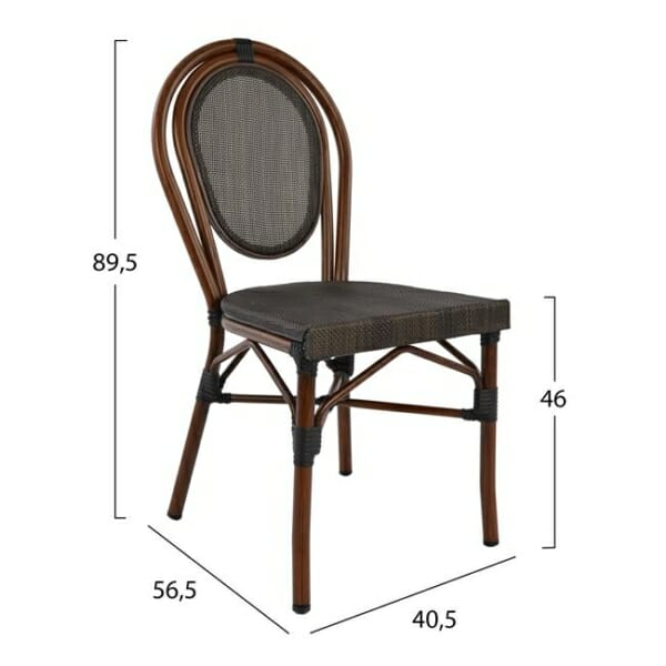Градински стол серия Бамбук в кафяво размери