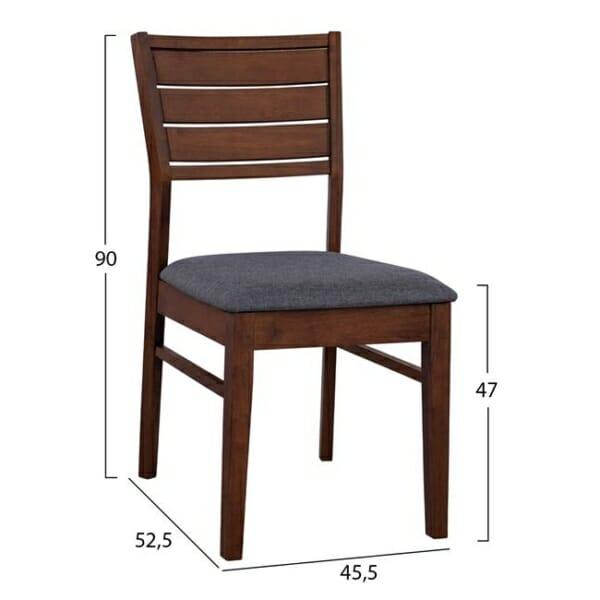 Градински трапезен комплект от каучукова дървесина 4 части-стол-размери