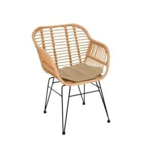 Градинско кресло от ратан с подлакътници Аруба - бежов цвят с екрю
