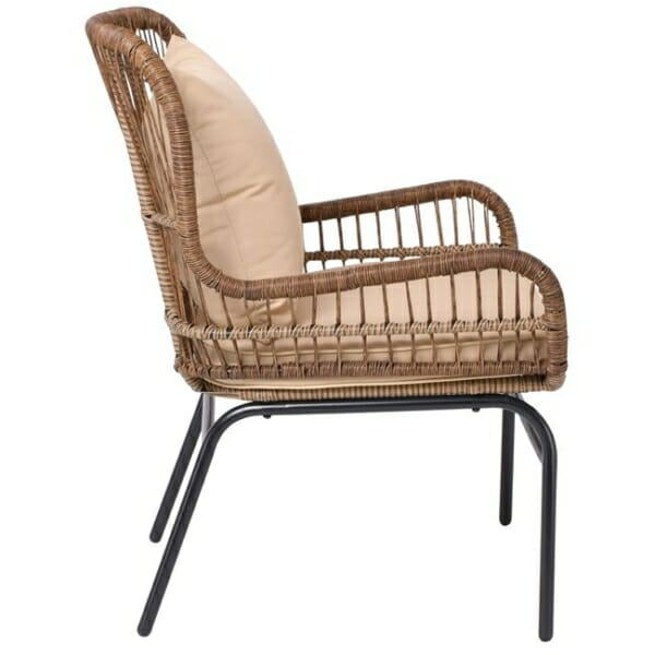 Градинско кресло от ратан с възглавнички Варадеро - отстрани