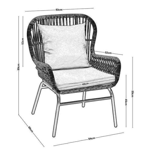 Градинско кресло от ратан с възглавнички Варадеро - размери