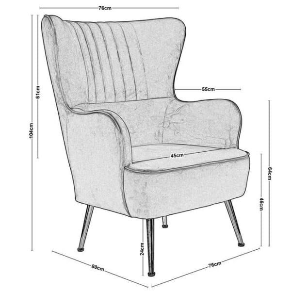 Кадифено кресло с хромирани крачета Мисти - размери