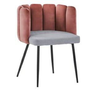 Кадифено кресло в розово и сиво