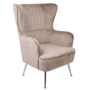 Кафяво кадифено кресло с хромирани крачета Мисти