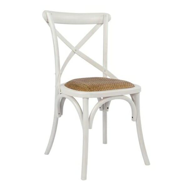 Класически дървен стол от бреза и ратанова седалка в бяло