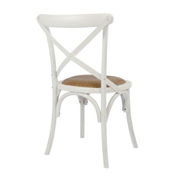 Класически дървен стол от бреза и ратанова седалка в бяло отзад