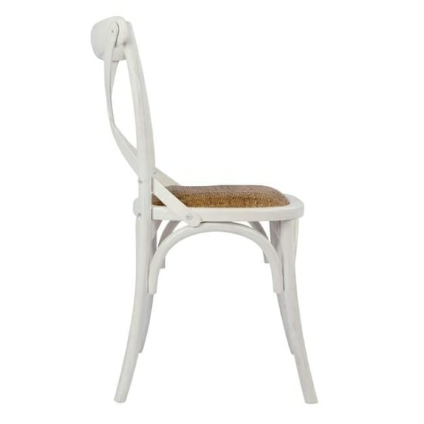 Класически дървен стол от бреза и ратанова седалка в бяло странично