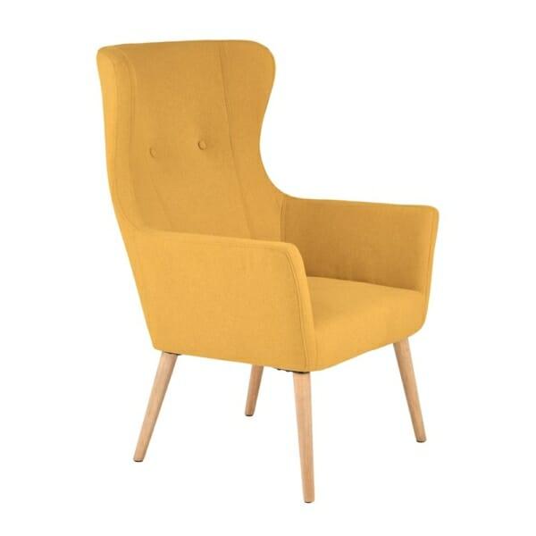 Жълто класическо кресло с дамаска и дървени крака
