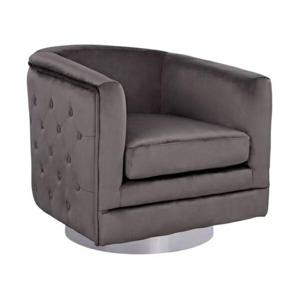 Комфортен фотьойл от кадифе и капитонаж на облегалката в сиво