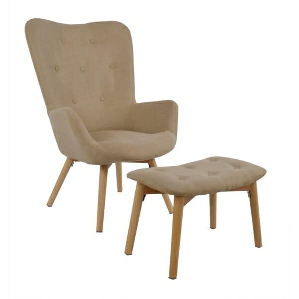 Комплект от кресло и табуретка за крака в бежово