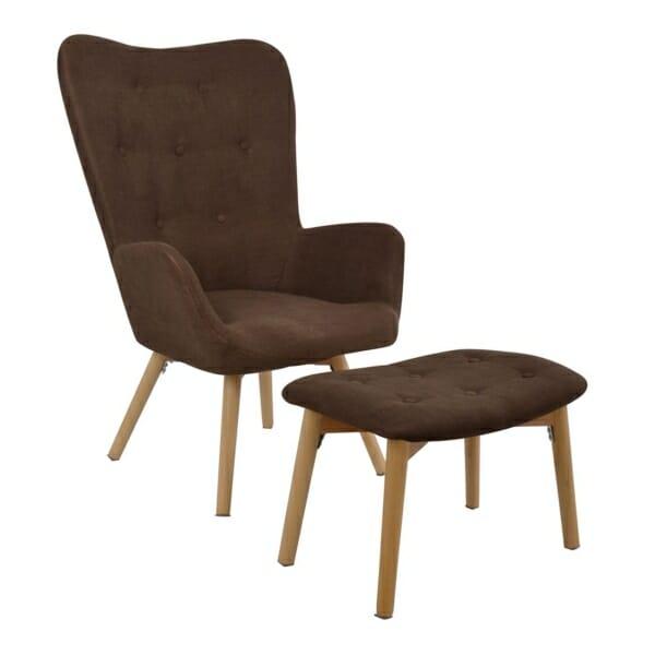 Комплект от кресло и табуретка за крака в кафяво