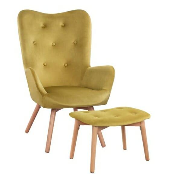 Комплект от кресло и табуретка за крака в лайм