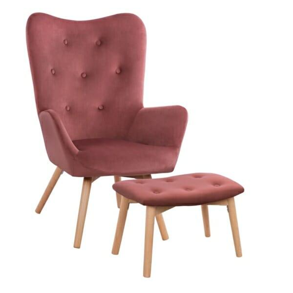 Комплект от кресло и табуретка за крака в розово