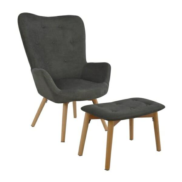 Комплект от кресло и табуретка за крака в сиво