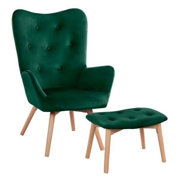 Комплект от кресло и табуретка за крака в зелено