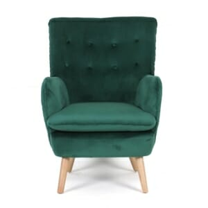Кресло с плюшена дамаска и дървени крака Принс (2 цвята)