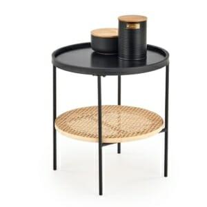 Кръгла холна маса с метален плот и рафт от ратан