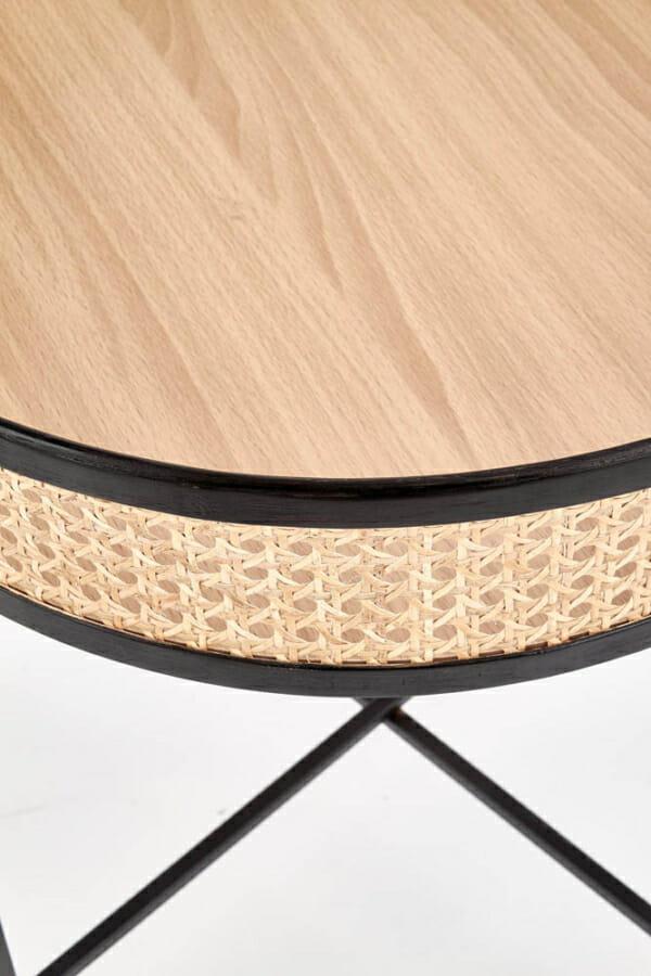 Кръгла холна маса с ратанов плот и черна метална основа - детайл плот