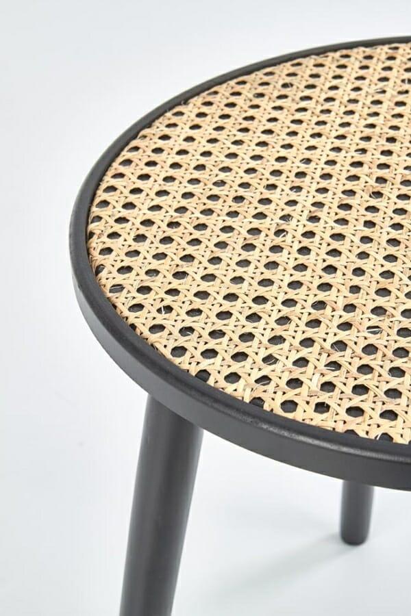 Кръгла холна масичка от ратан и метал Ломбок - детайл плот