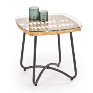 Квадратна холна маса с плот от ратан и стъкло Венди