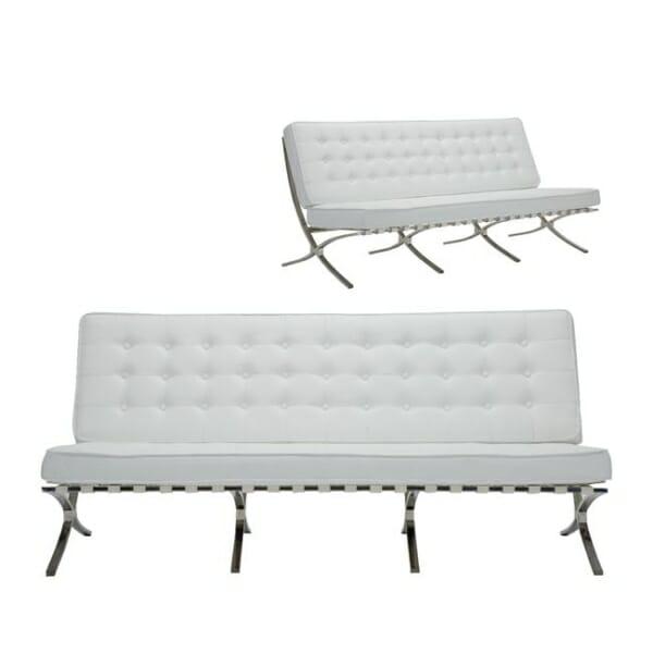 Луксозен триместен диван от еко кожа в бял цвят Бари