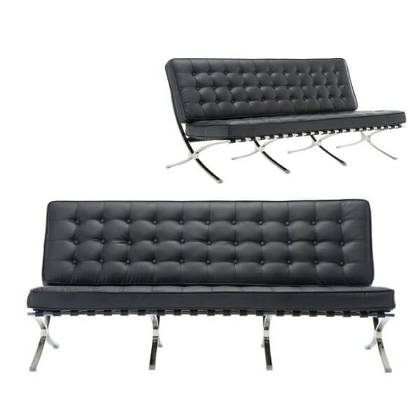 Луксозен триместен диван от еко кожа в черен цвят Бари