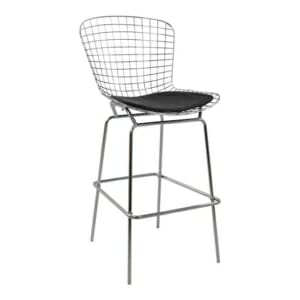 Метален бар стол с кожена възглавница хром