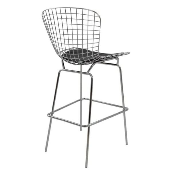 Метален бар стол с кожена възглавница хром гръб