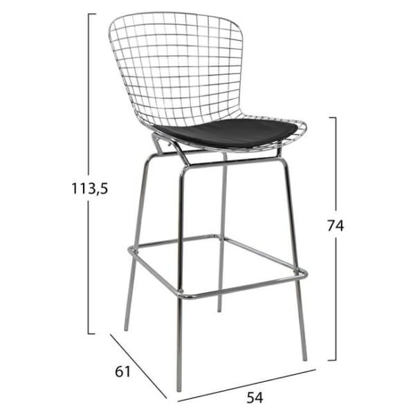 Метален бар стол с кожена възглавница хром размери