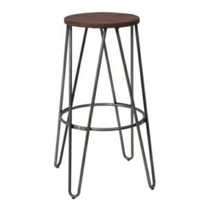 Метален бар стол с кръгла дървена седалка Карли - цвят сив металик