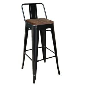 Метален бар стол с облегалка и квадратна дървена седалка - черен мат
