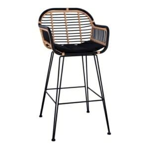 Метален бар стол с ратанова оплетка