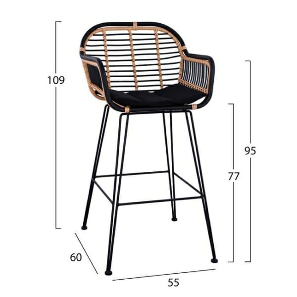 Метален бар стол с ратанова оплетка размери