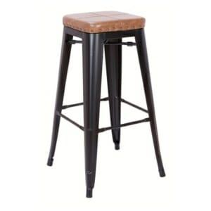Метален бар стол със седалка от еко кожа Роко - карамелен цвят