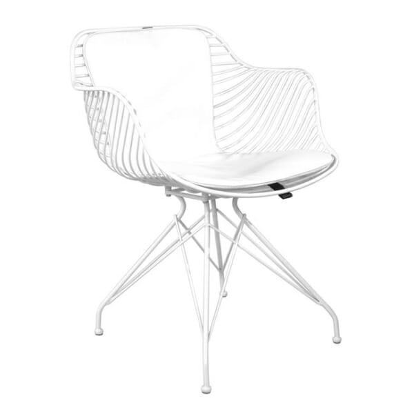 Метален стол с кожена възглавница в индустриален стил в бяло