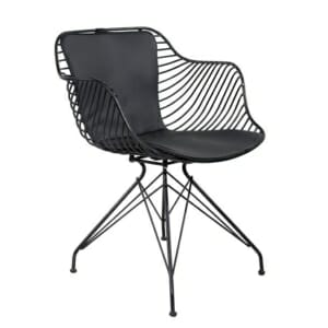 Метален стол с кожена възглавница в индустриален стил в черно