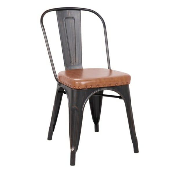 Метален стол със седалка от еко кожа Кроу -антично черно и карамел