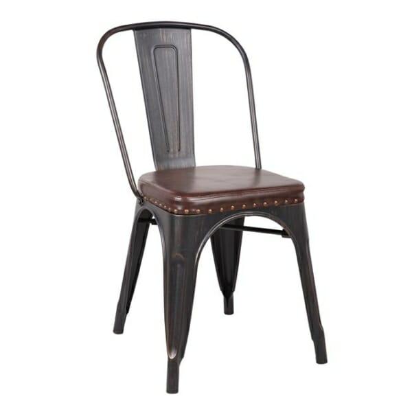 Метален стол със седалка от еко кожа Кроу -антично черно и тъмнокафяво