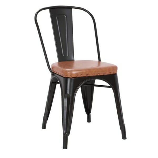 Метален стол със седалка от еко кожа Кроу - черен мат и карамел