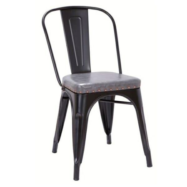 Метален стол със седалка от еко кожа Кроу - черен мат и сиво